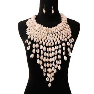 Cowrie Shell Bib Fringe Necklace Set